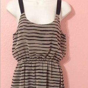 Brown and black stripped dress
